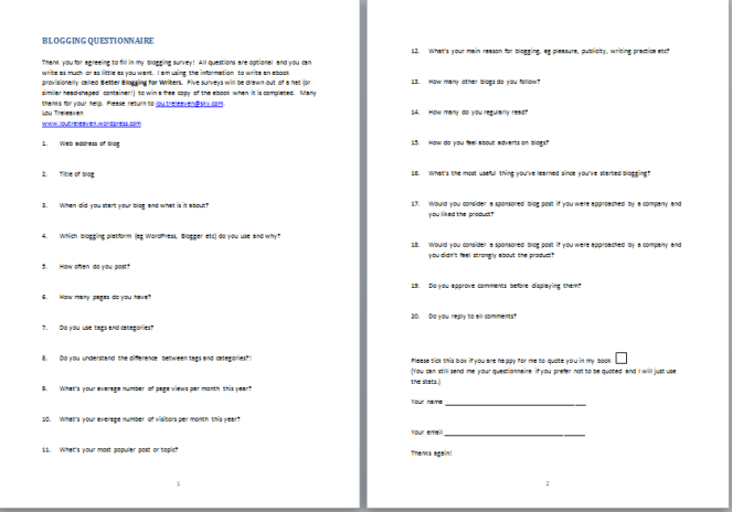blogging questionnaire