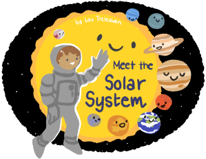 An astronaut waving to the sun and its planetary friends